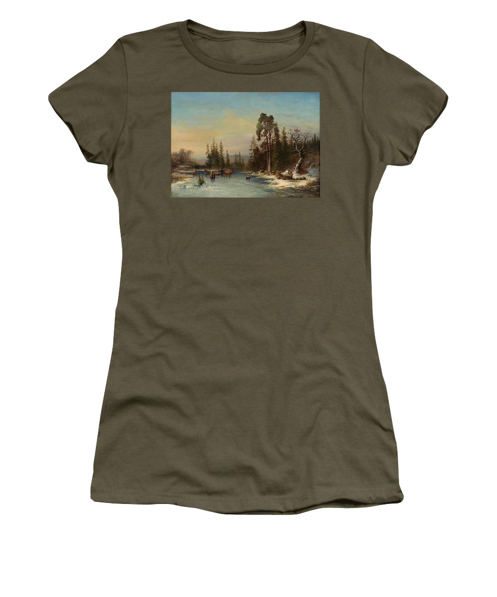 Joseph Magnus Stack 1812-1868 Skating Children And Slädekipage On Frozen Pond Women's T-Shirt (Athletic Fit) featuring the painting Skating Children by MotionAge Designs
