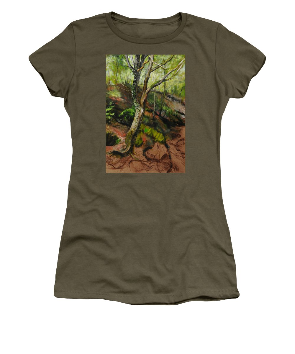 Landscape Women's T-Shirt featuring the painting Sketch Of A Treetrunk by Harry Robertson