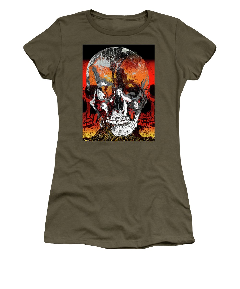Skull Head Face Bones Portraits People Life Death Colors Women's T-Shirt featuring the digital art Skull Times Three Larger Size by Lisa Stanley