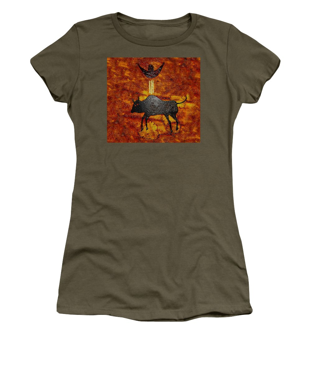 Art Women's T-Shirt featuring the painting Sky People Taking Buffalo by David Lee Thompson