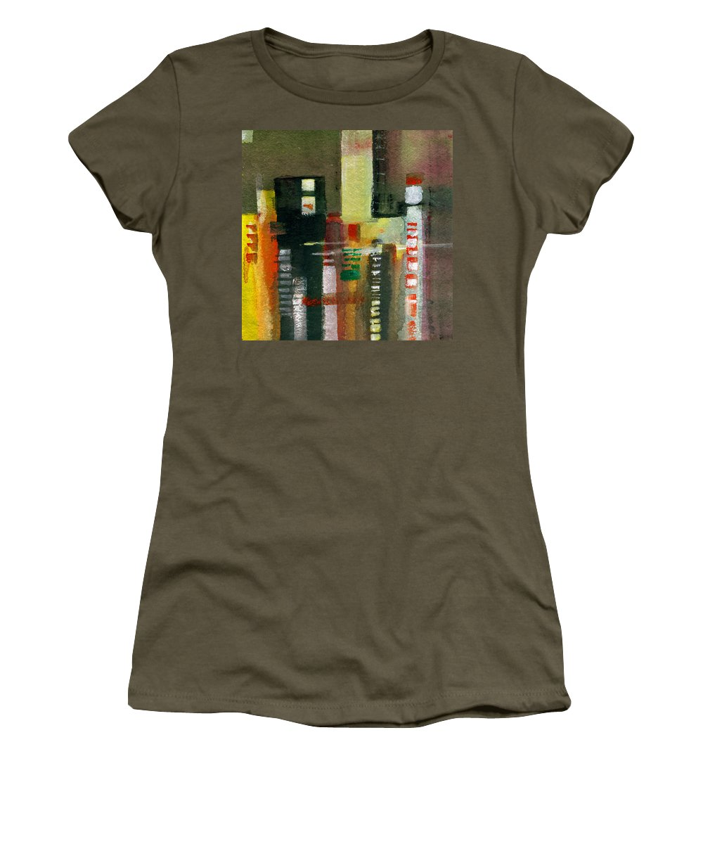 Townscape Women's T-Shirt featuring the painting Skyscrapers by Anil Nene