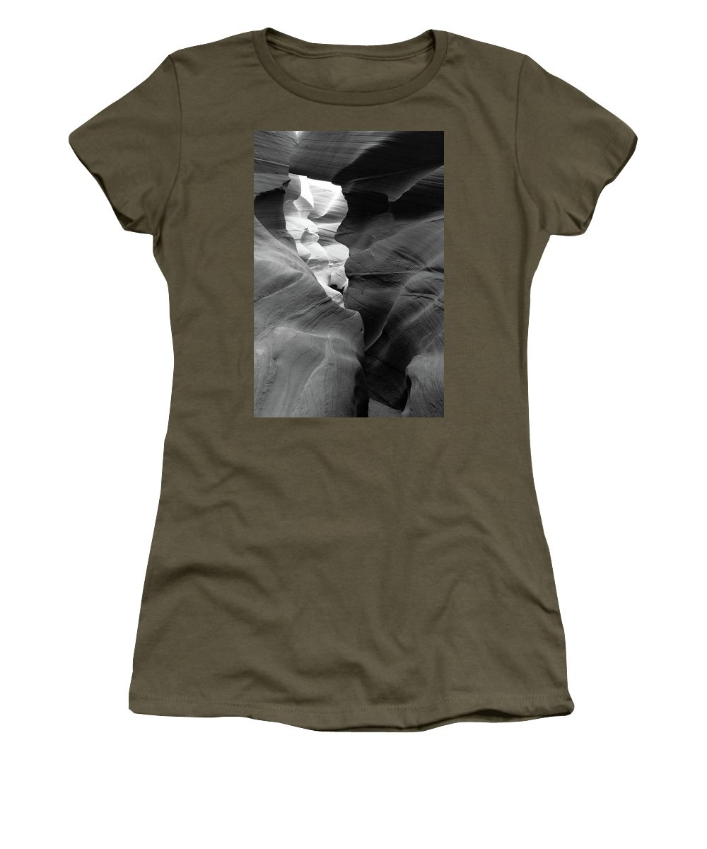 Slot Canyon Women's T-Shirt featuring the photograph Slot Canyon Black And White by Scott Sawyer