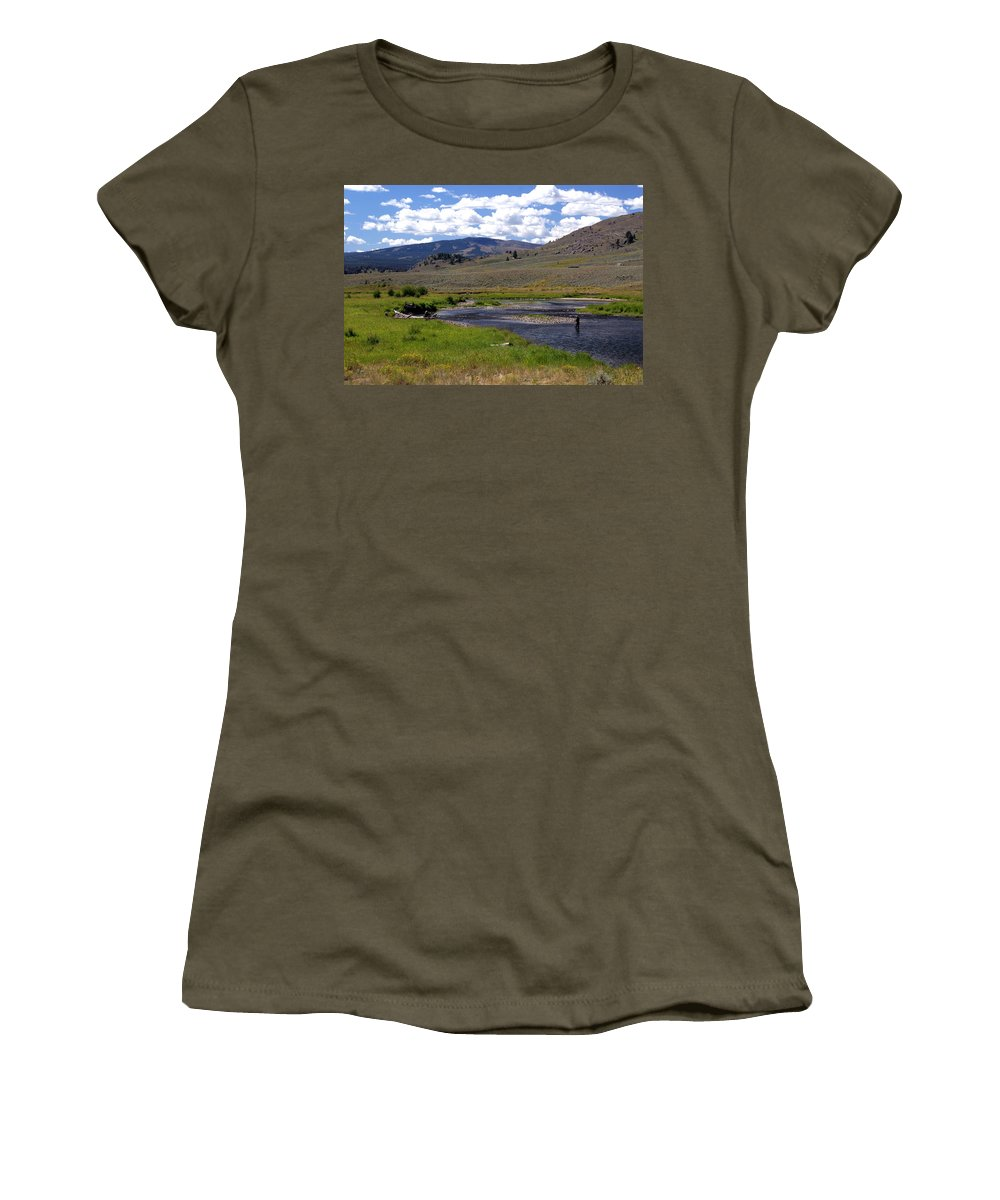 Yellowston National Park Women's T-Shirt featuring the photograph Slough Creek Angler by Marty Koch