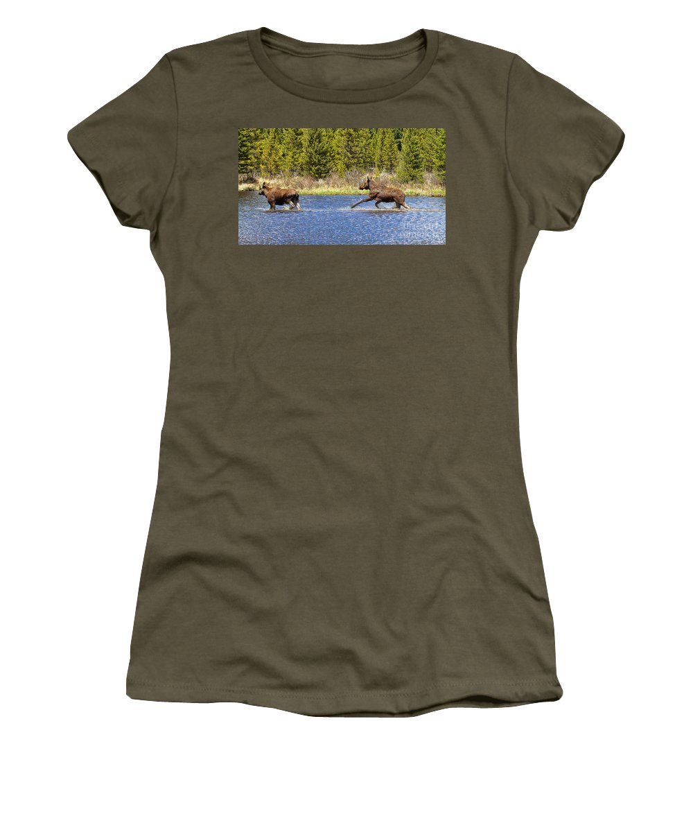 Moose Women's T-Shirt featuring the photograph Slow Down by Jim Garrison