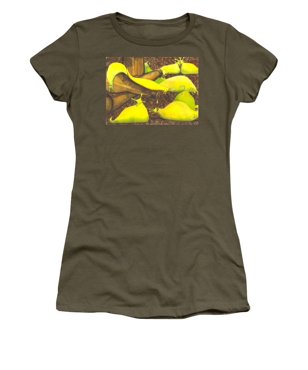Slug Women's T-Shirt (Athletic Fit) featuring the painting Slugaholics by Catherine G McElroy