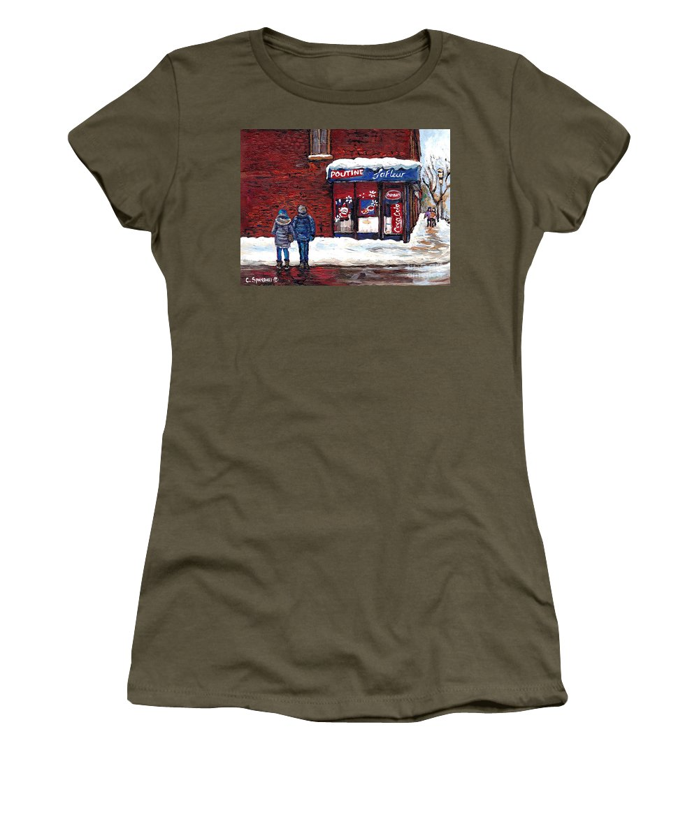Best Montreal Art Women's T-Shirt featuring the painting Small Format Paintings For Sale Poutine Lafleur Montreal Petits Formats A Vendre Cspandau Artist by Carole Spandau