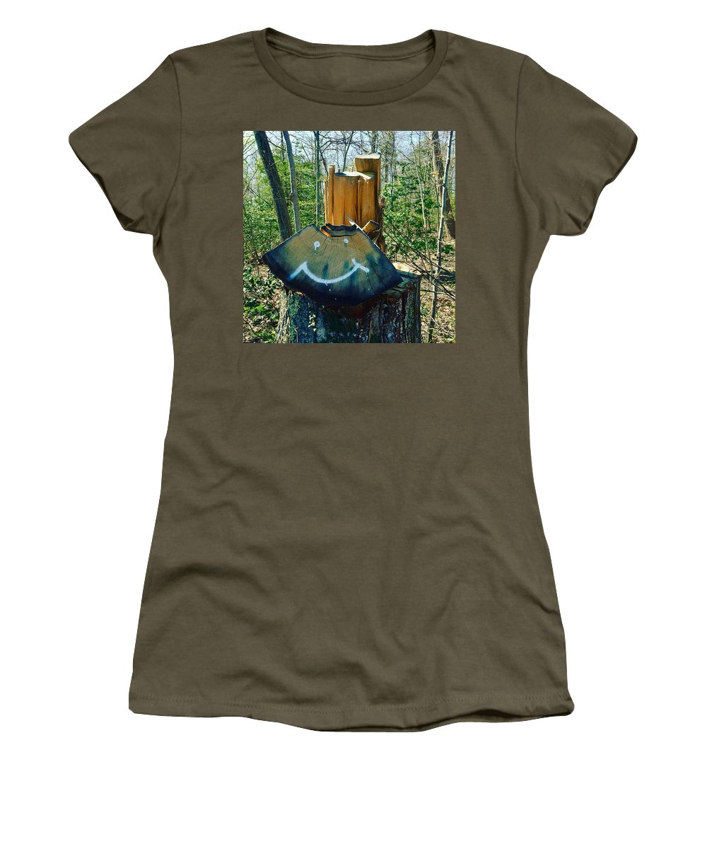 Leaf Women's T-Shirt featuring the photograph Smile by Micheal Driscoll