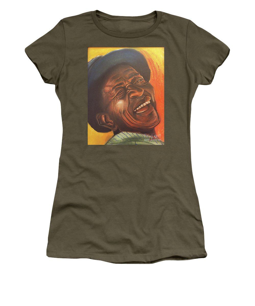 Old Man Women's T-Shirt featuring the pastel Smiling Sam by George Ameal Wilson