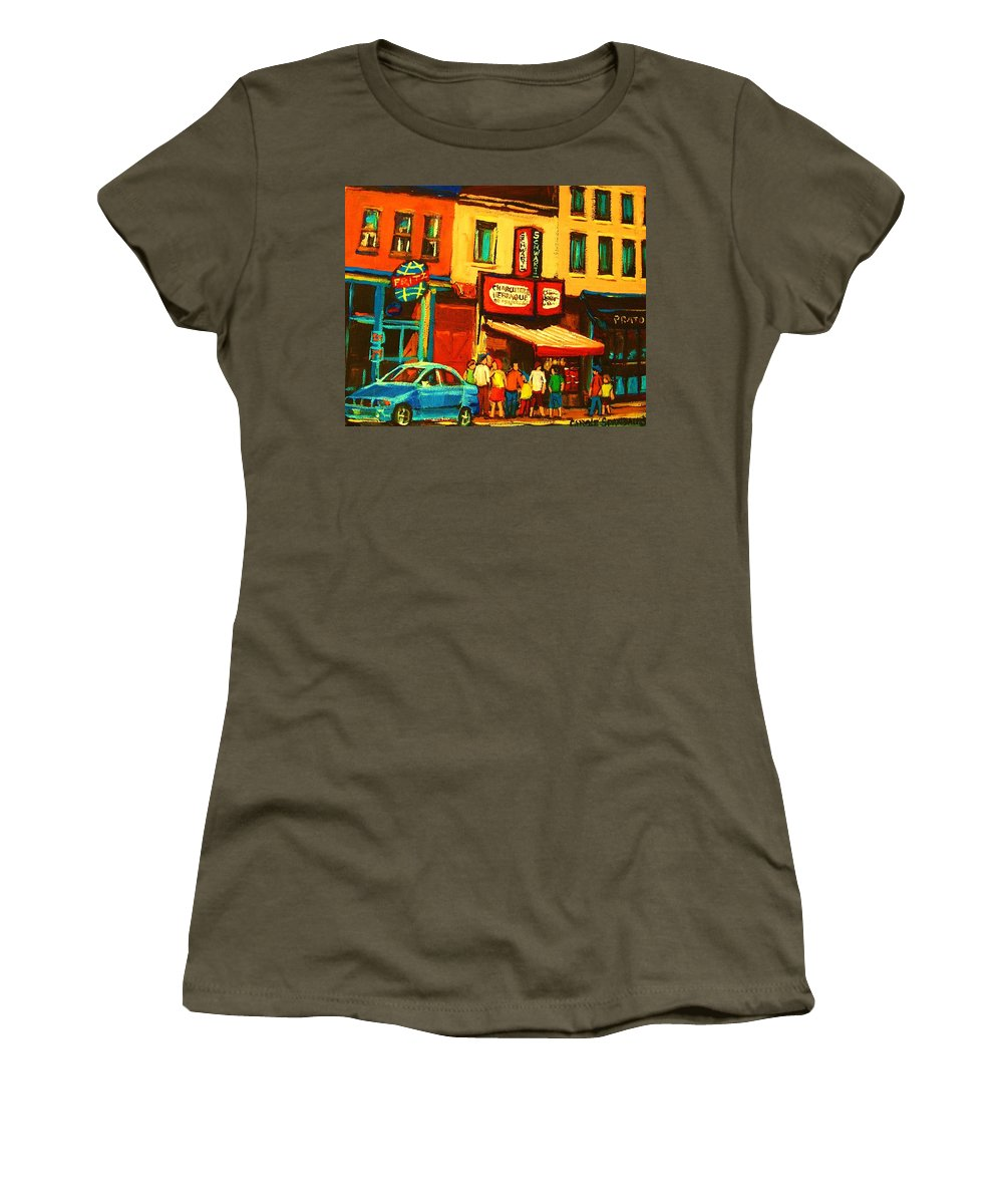 Montreal Smoked Meat Restaurants City Scenes Women's T-Shirt featuring the painting Smoked Meat Sandwiches Await by Carole Spandau