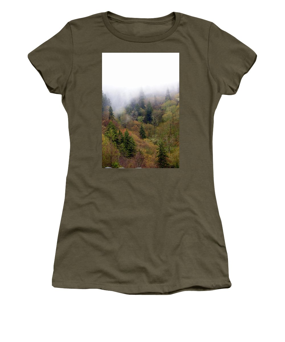 Fog Women's T-Shirt featuring the photograph Smoky Mount Vertical by Marty Koch