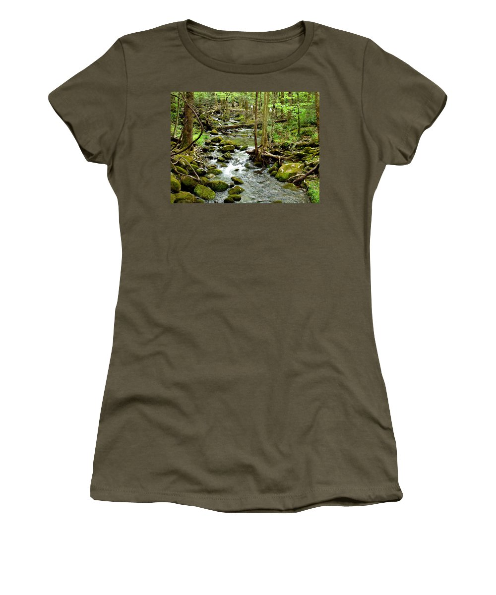 Smoky Mountains Women's T-Shirt (Athletic Fit) featuring the photograph Smoky Mountain Stream 1 by Nancy Mueller