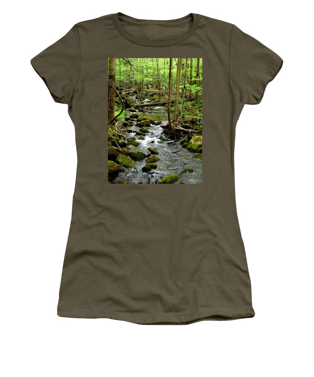 River Women's T-Shirt featuring the photograph Smoky Mountain Stream 2 by Nancy Mueller