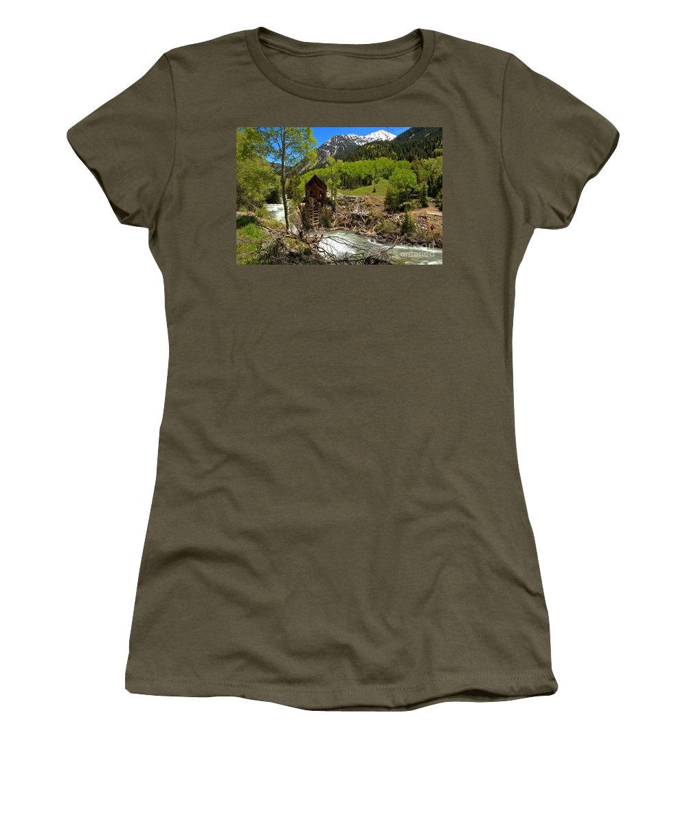 Crystal Mill Women's T-Shirt featuring the photograph Snow Caps Above Crystal by Adam Jewell