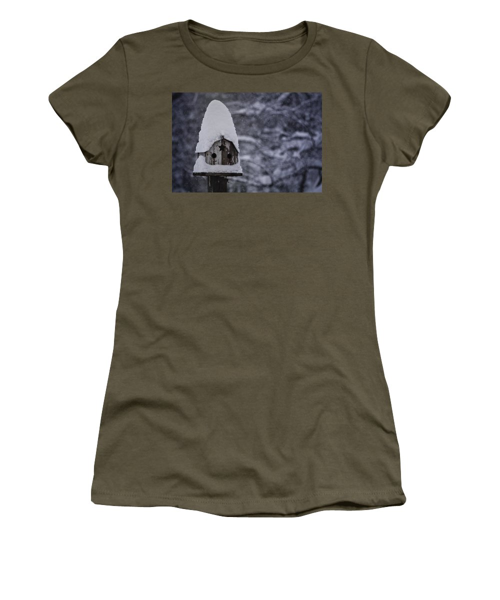 Birdhouse Women's T-Shirt featuring the photograph Snow Covered Elf Birdhouse by Teresa Mucha