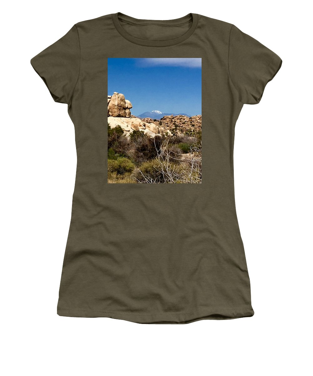 Women's T-Shirt (Athletic Fit) featuring the photograph Snow In The Desert by Jamie Bassis
