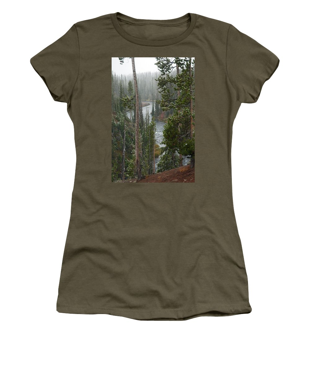 Snow Women's T-Shirt featuring the photograph Snow On The Yellowstone River by Gary Langley