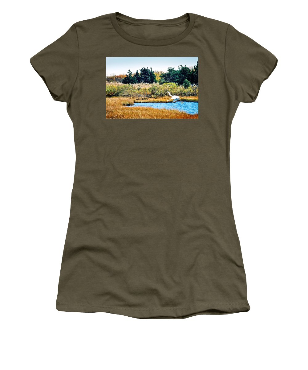 Landscape Women's T-Shirt (Athletic Fit) featuring the photograph Snowy Egret-island Beach State Park N.j. by Steve Karol