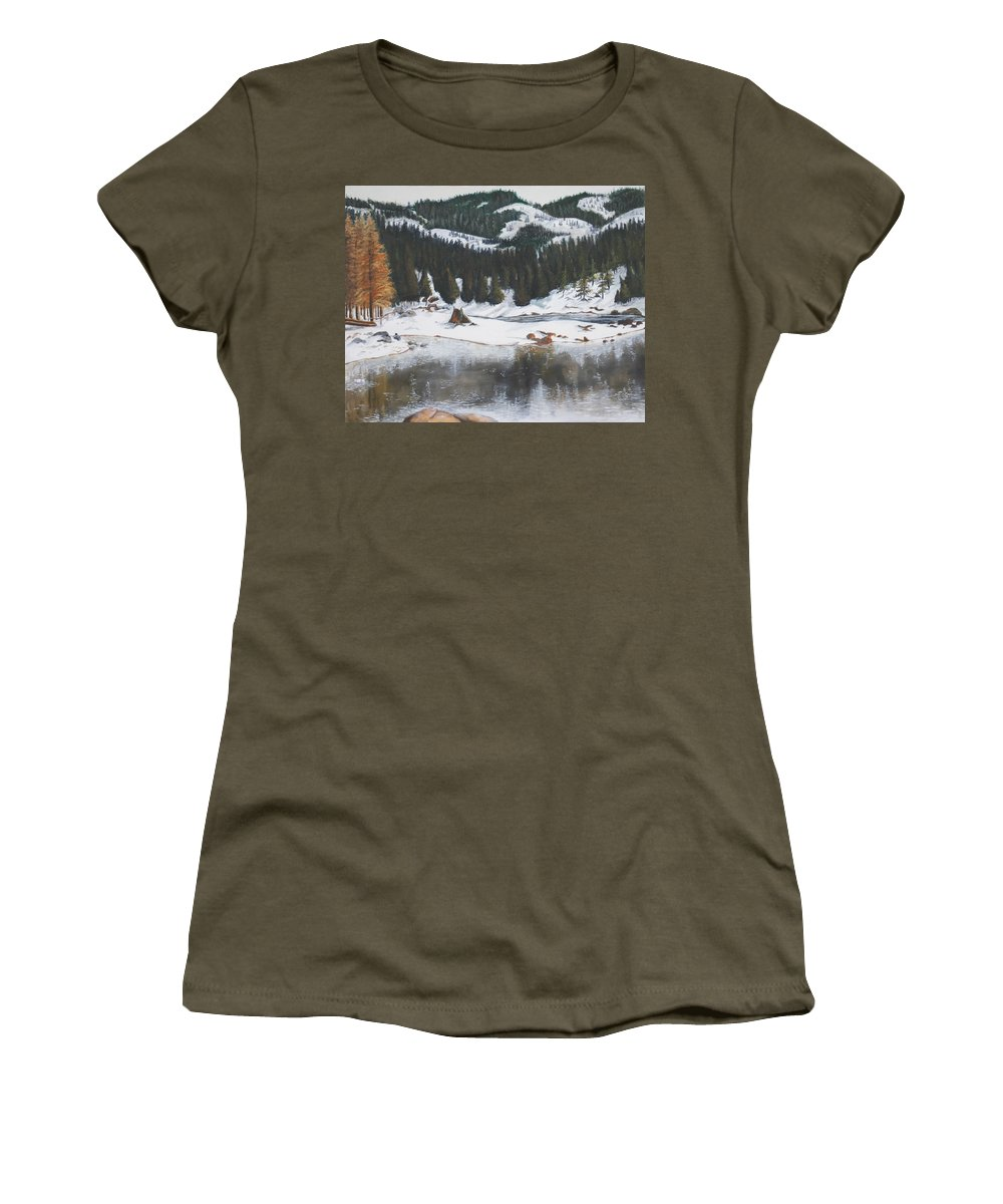 Snow Women's T-Shirt (Athletic Fit) featuring the painting Snowy Lake by Travis Day