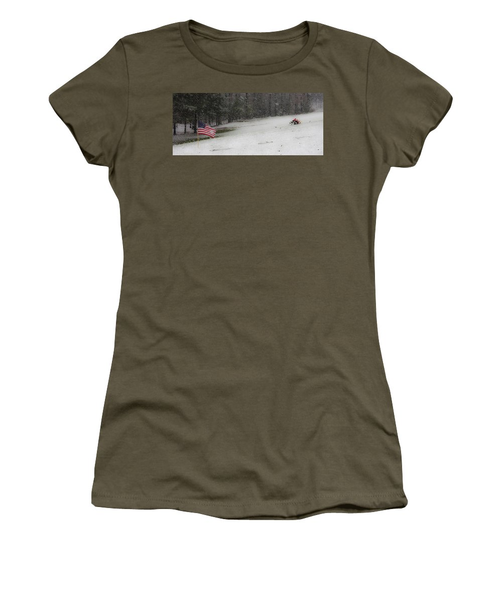 Snow Women's T-Shirt featuring the photograph Snowy Patriot Quantico National Cemetery by Teresa Mucha