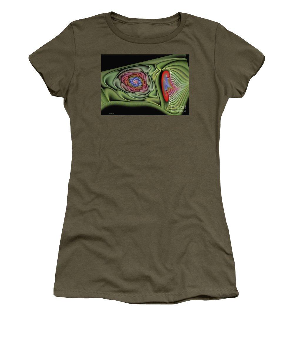 Fractal Women's T-Shirt featuring the digital art Soft Glamore by Deborah Benoit