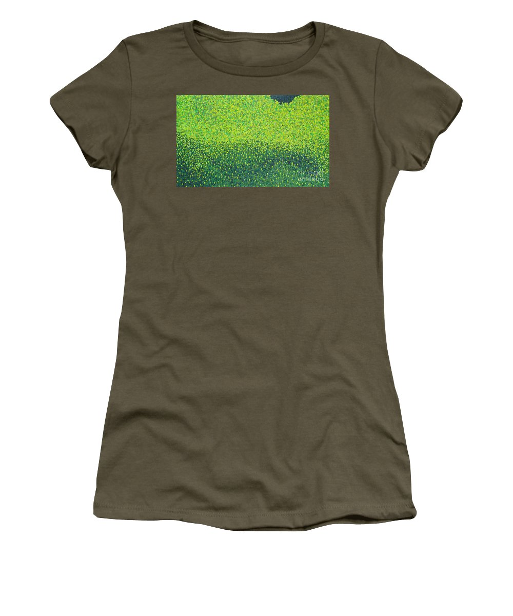 Abstract Women's T-Shirt (Athletic Fit) featuring the painting Soft Green Wet Trees by Dean Triolo