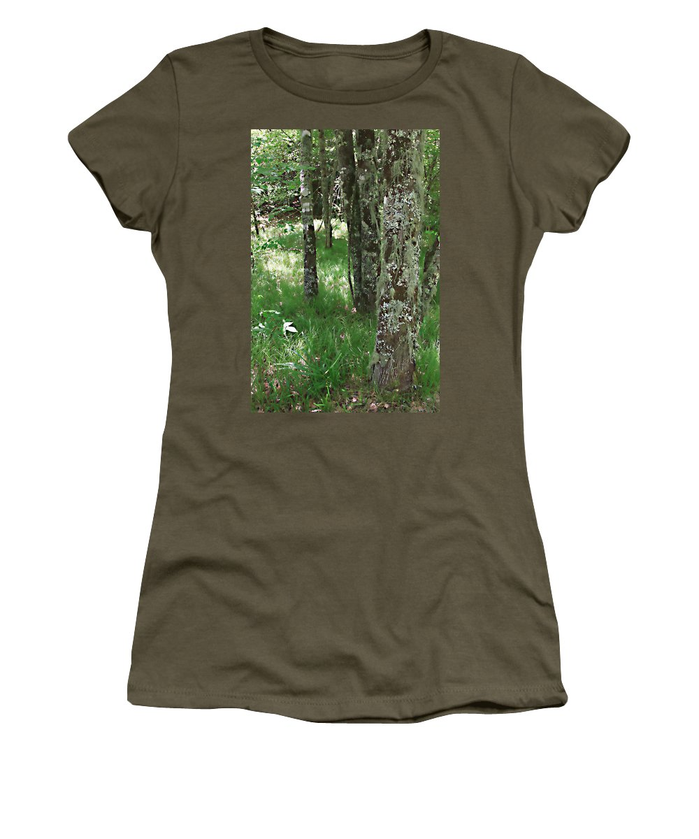 Trees Forrest Green Photograph Photography Digital Summer Women's T-Shirt featuring the photograph Soft Trees by Shari Jardina