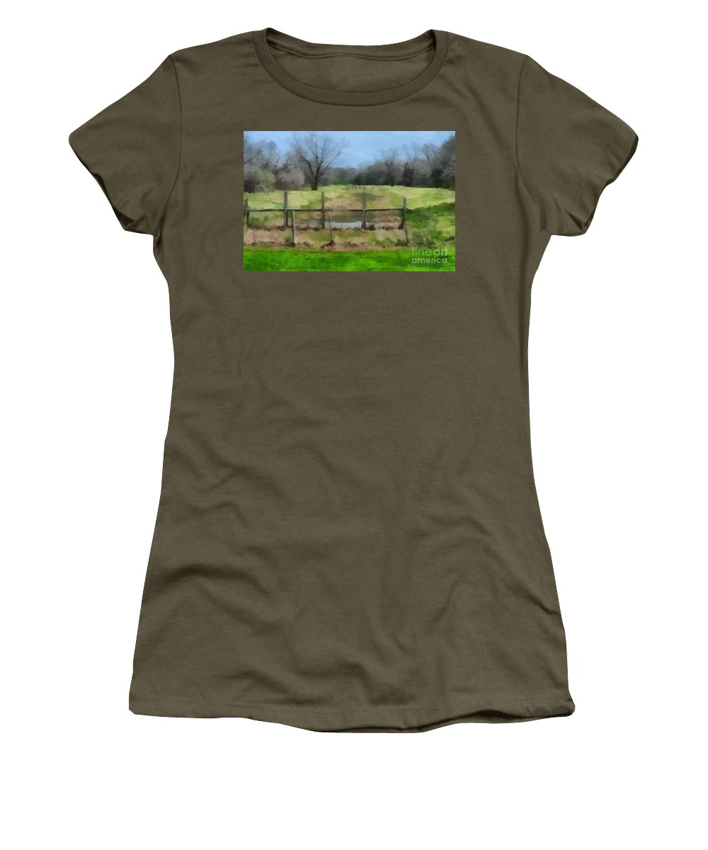Corporate Women's T-Shirt (Athletic Fit) featuring the photograph Soggy Texas Bayou by Paulette B Wright