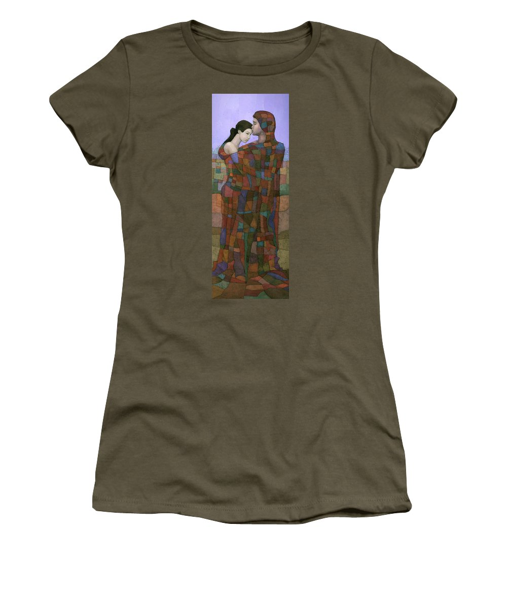 Figurative Women's T-Shirt (Athletic Fit) featuring the painting Solace by Steve Mitchell