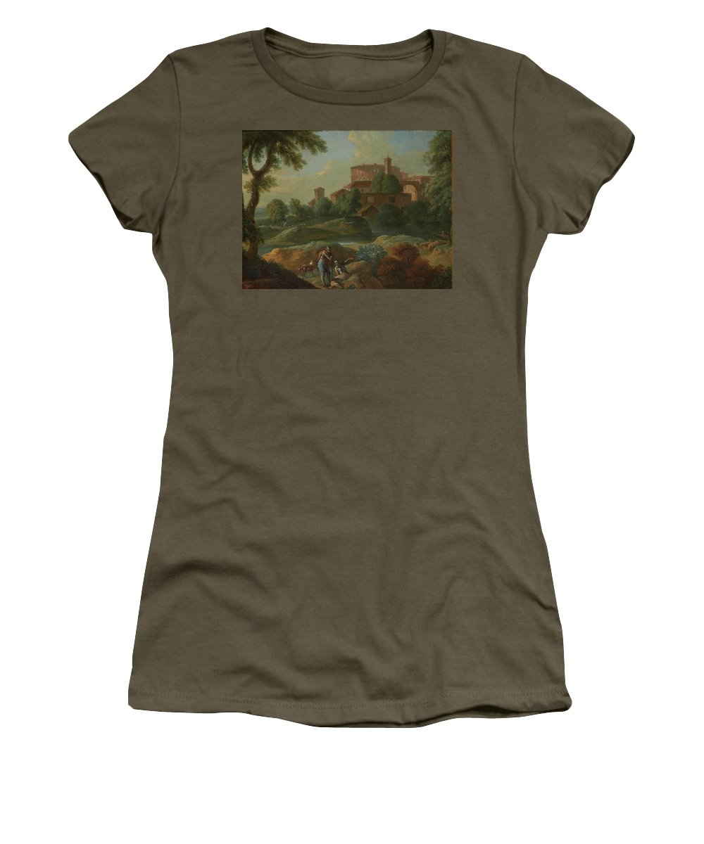 Marcantonio Sardi Landscape With Soldiers And Dogs Near A River Women's T-Shirt (Athletic Fit) featuring the painting Soldiers And Dogs Near A River by Marcantonio