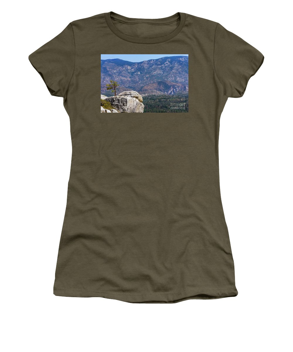 August 2017 Women's T-Shirt featuring the photograph Solitary Pine On Promontory by Jeffrey Hubbard