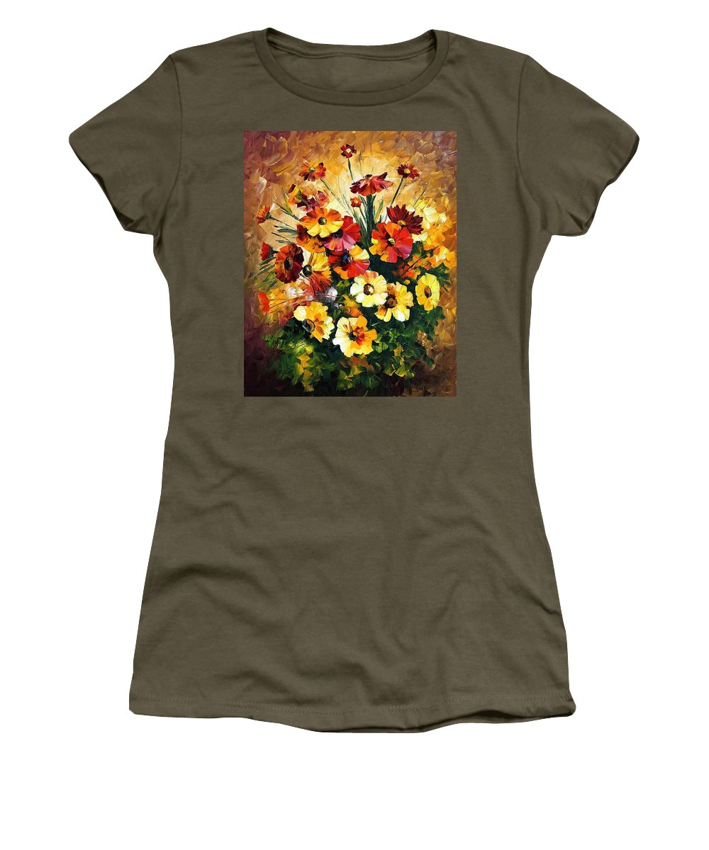 Afremov Women's T-Shirt featuring the painting Songs Of My Heart by Leonid Afremov
