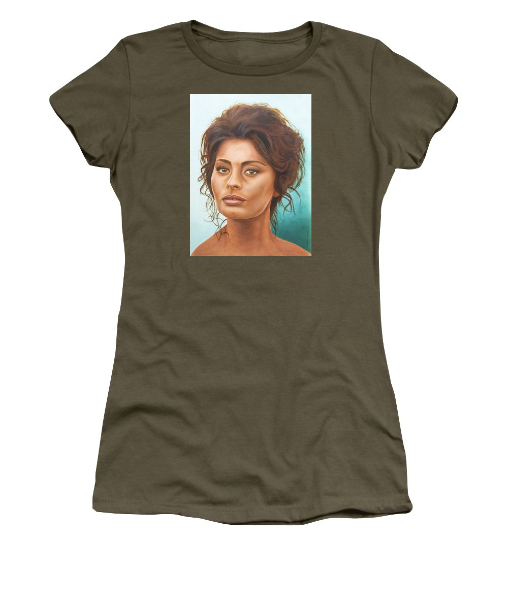 Moviestar Women's T-Shirt (Athletic Fit) featuring the painting Sophia Loren by Rob De Vries