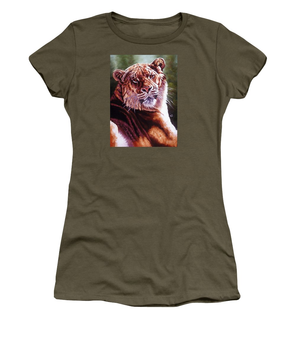 Hybrid Women's T-Shirt (Athletic Fit) featuring the painting Sophie The Liger by Barbara Keith