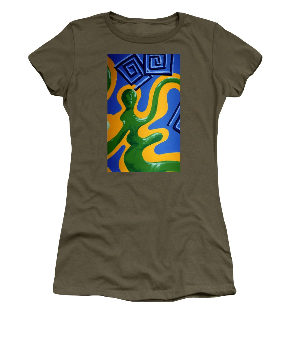 Abstract Women's T-Shirt (Athletic Fit) featuring the painting Soul Figures 1 by Catt Kyriacou