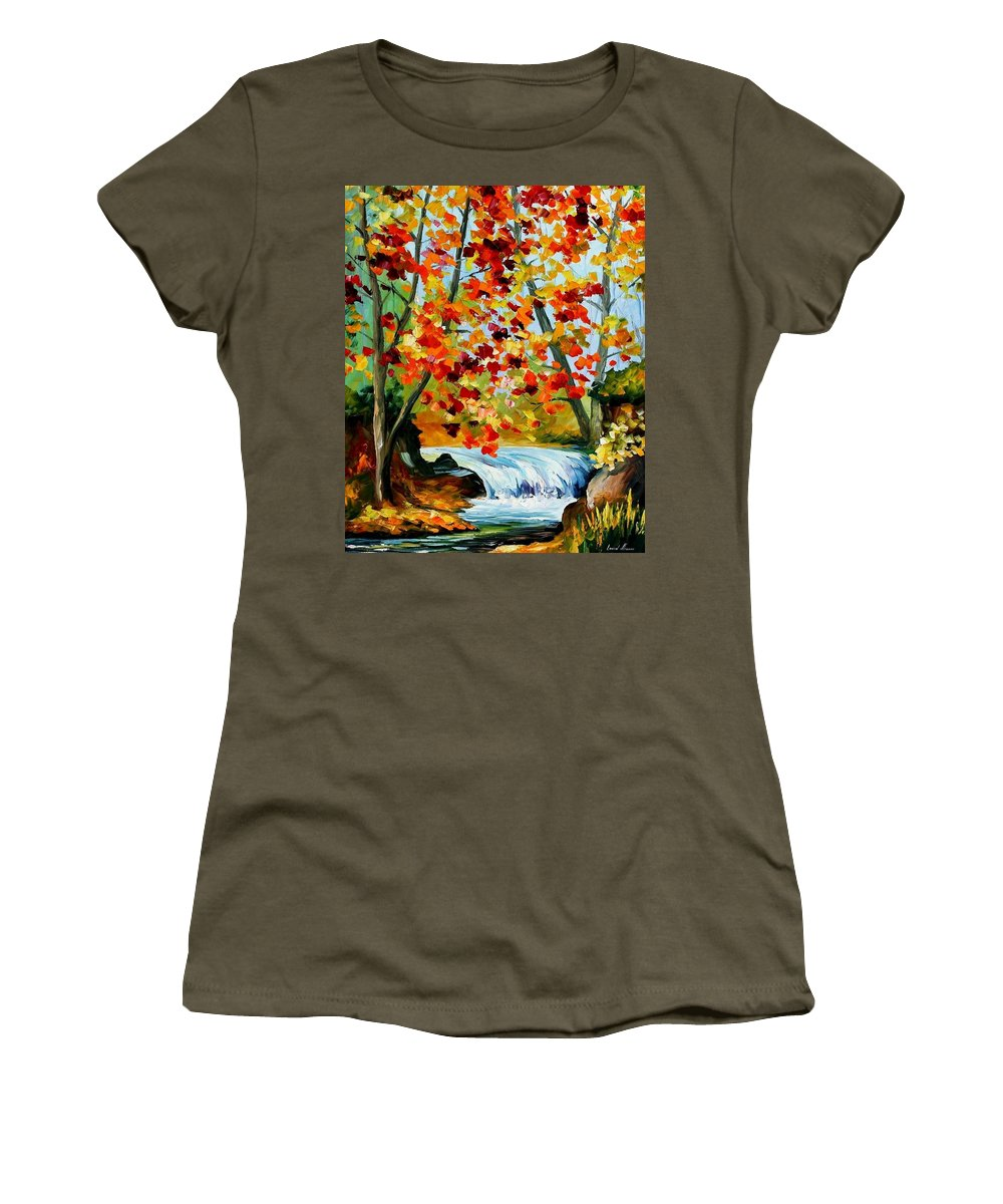 Afremov Women's T-Shirt featuring the painting Source by Leonid Afremov