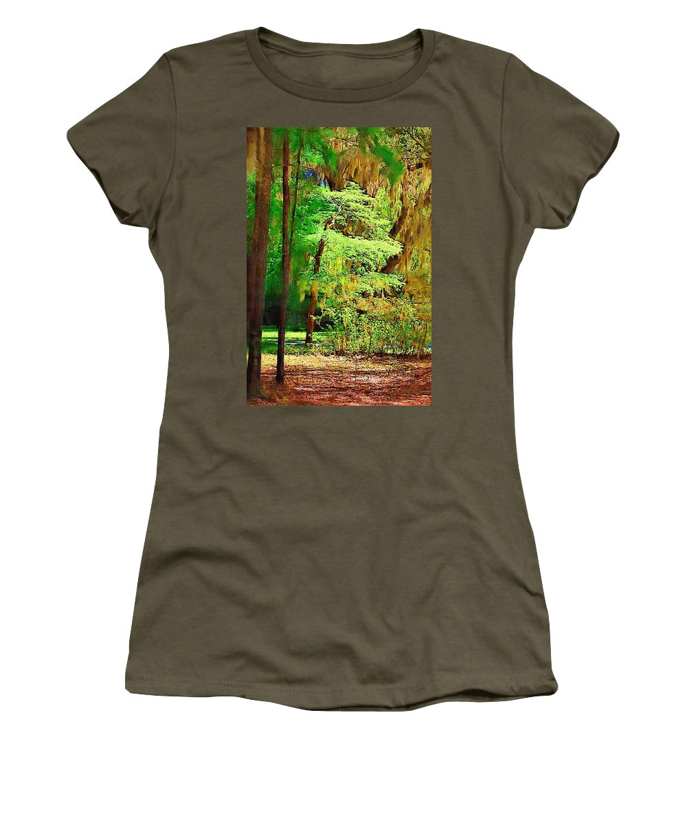 Woods Women's T-Shirt (Athletic Fit) featuring the photograph Southern Forest by Donna Bentley