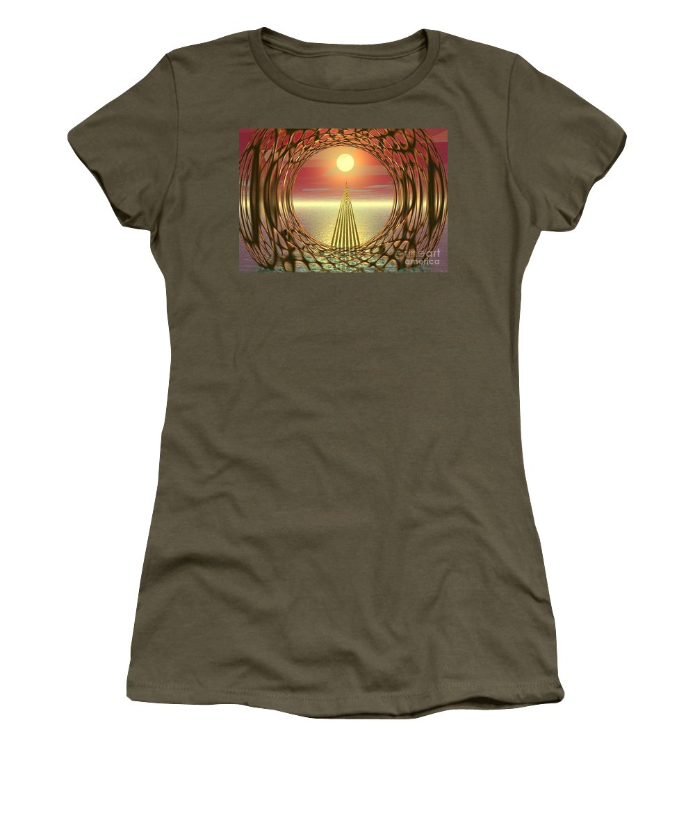 Abstract Women's T-Shirt (Athletic Fit) featuring the digital art Sparkles Of Light by Oscar Basurto Carbonell