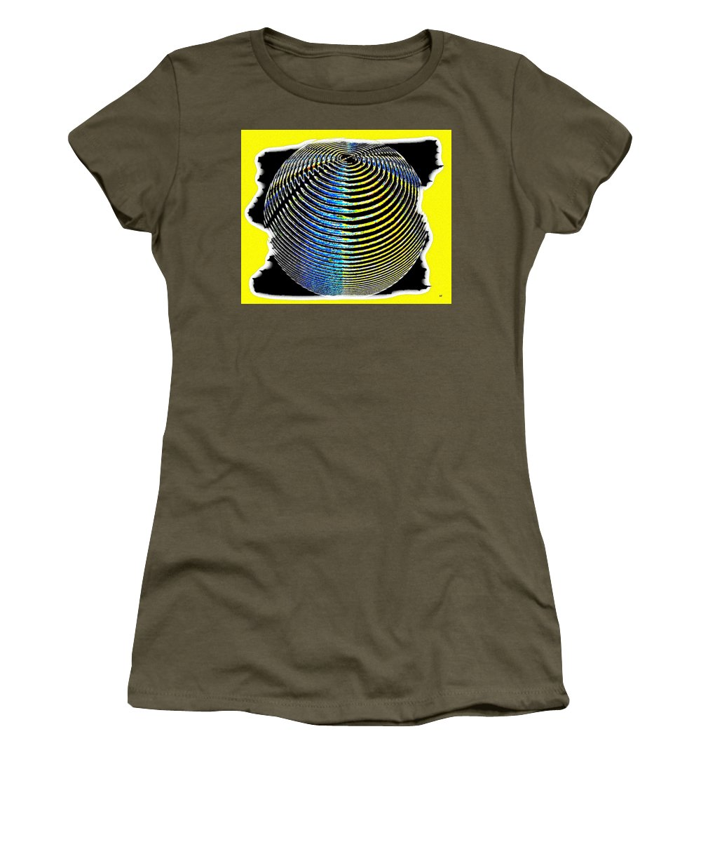 Sphere Women's T-Shirt (Athletic Fit) featuring the digital art Sphere In Yellow by Will Borden