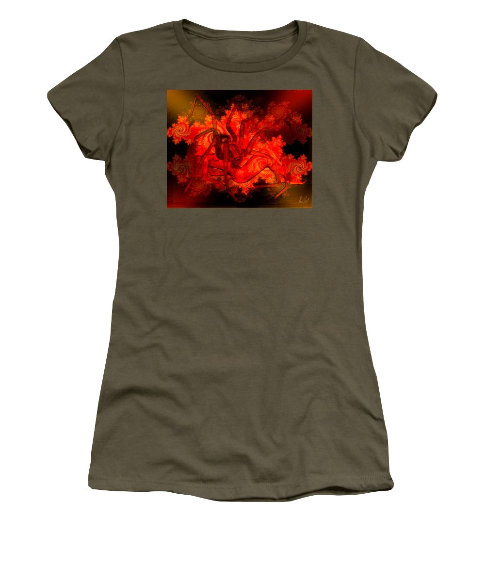 Spider Women's T-Shirt (Athletic Fit) featuring the digital art Spider Catches Virgin In Space by Helmut Rottler