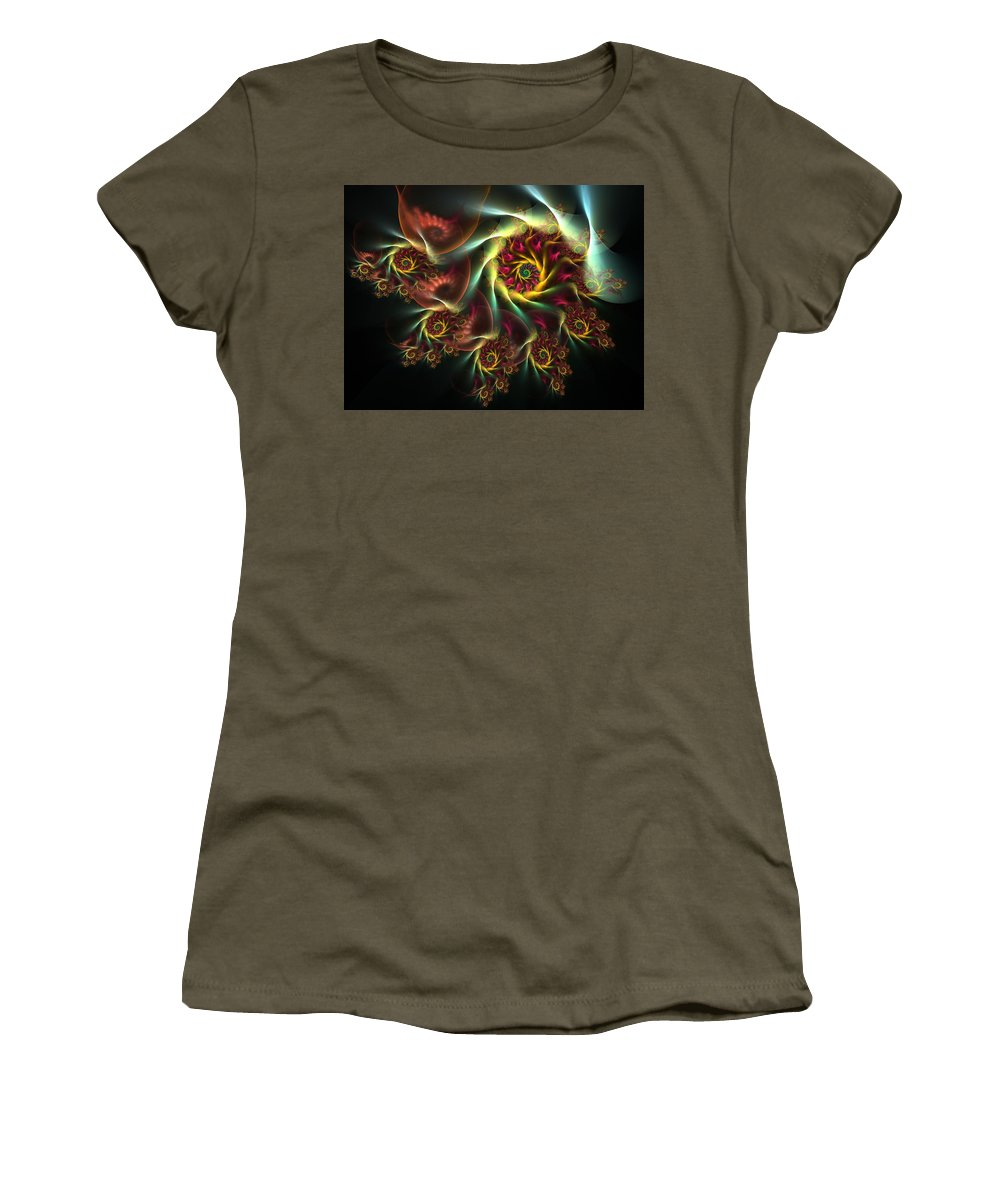 Fractal Women's T-Shirt (Athletic Fit) featuring the digital art Spiral Of Riches by Amorina Ashton