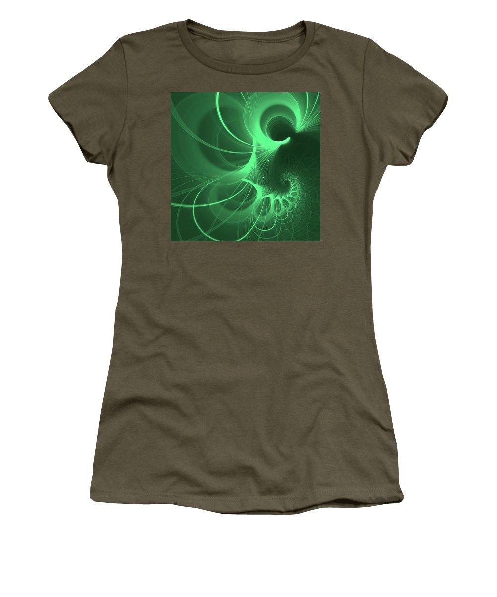 Mariia Kalinichenko Women's T-Shirt (Athletic Fit) featuring the digital art Spiral Thoughts Green by Mariia Kalinichenko
