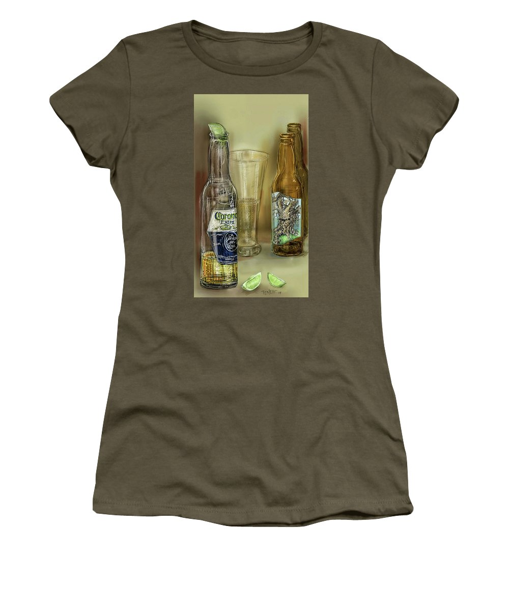Spirits Women's T-Shirt featuring the drawing Spirits... by Mark Tonelli