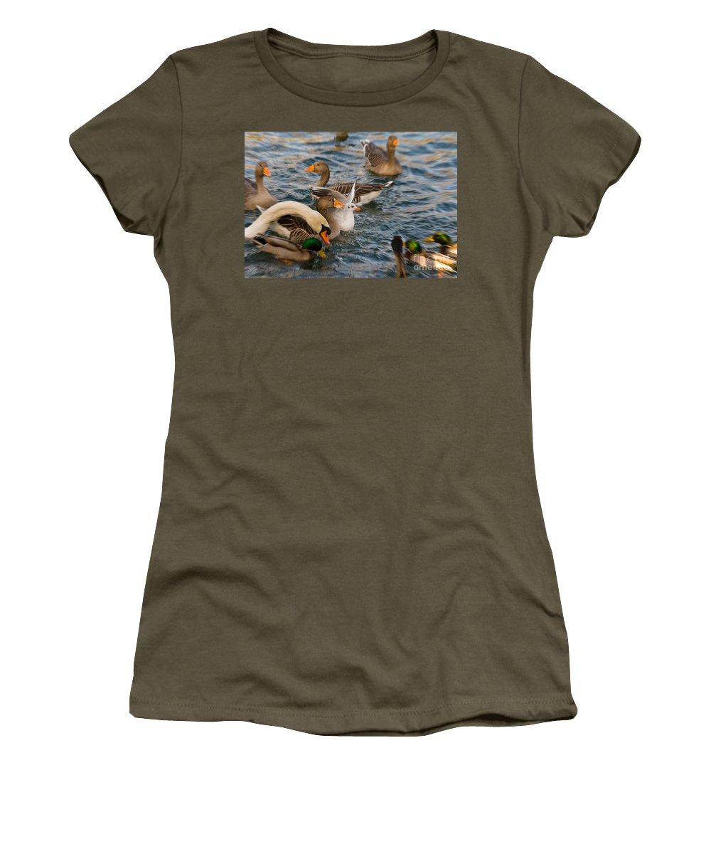 Avian Women's T-Shirt featuring the digital art Spot The Bread by Nigel Bangert