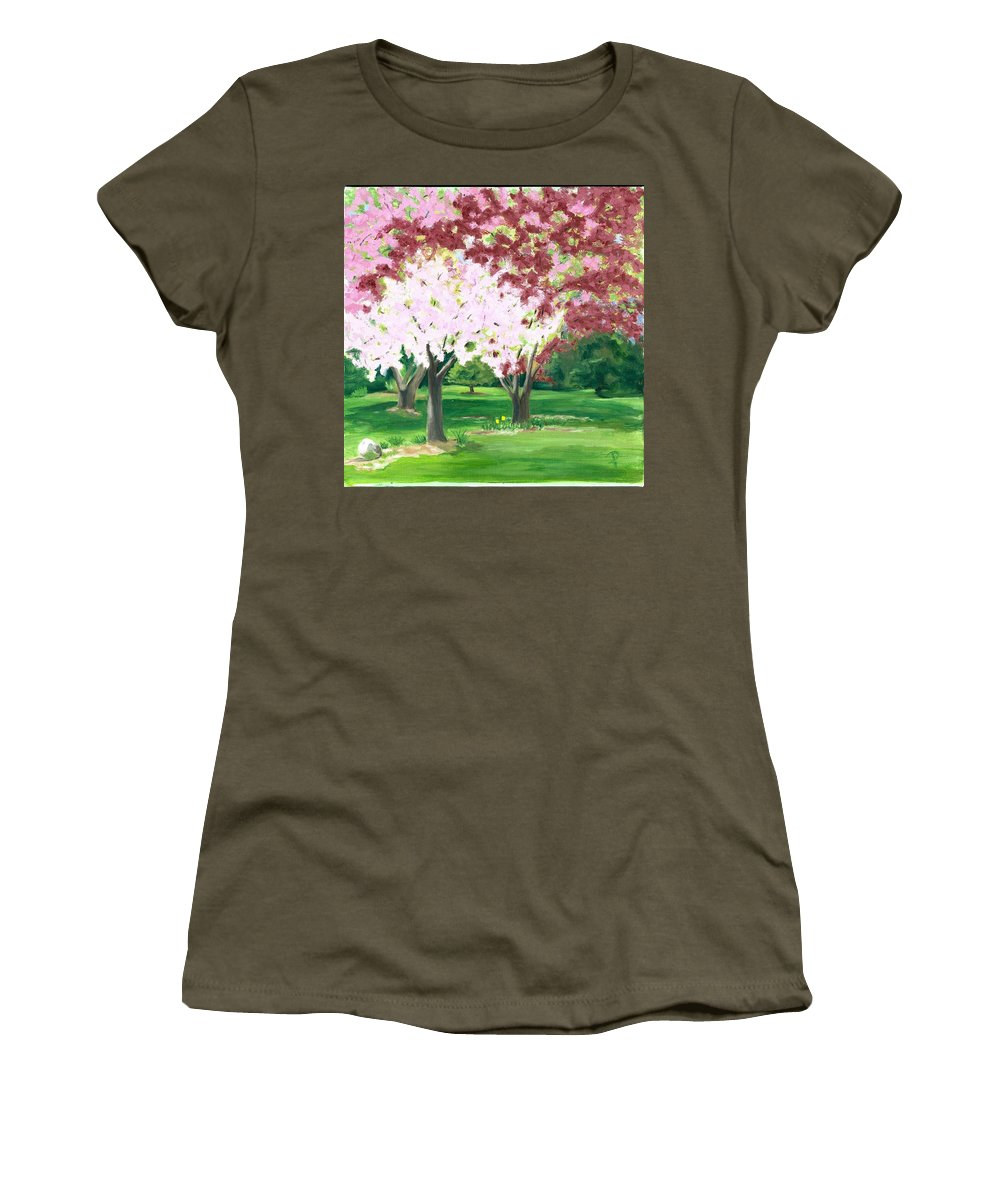 Spring Women's T-Shirt (Athletic Fit) featuring the painting Spring At Osage Land Trust by Paula Emery
