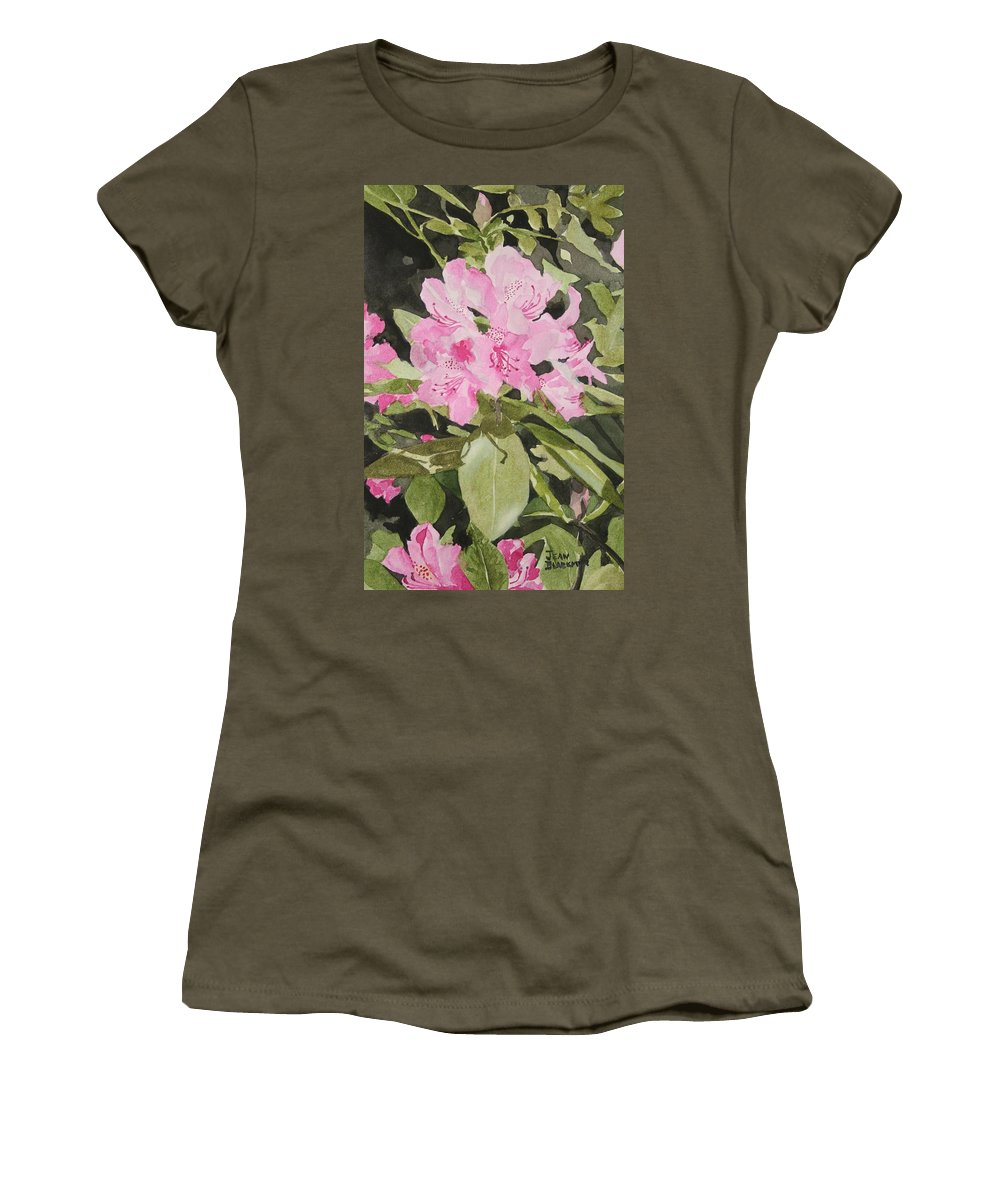 Flowers Women's T-Shirt featuring the painting Spring At The Cabin by Jean Blackmer