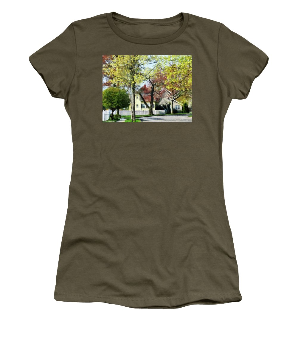 Spring Women's T-Shirt featuring the photograph Spring Begins In The Suburbs by Susan Savad