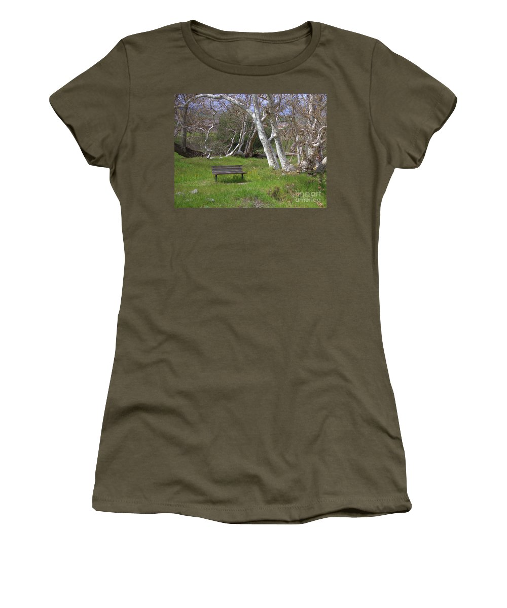 Bench Women's T-Shirt featuring the photograph Spring Bench In Sycamore Grove Park by Carol Groenen