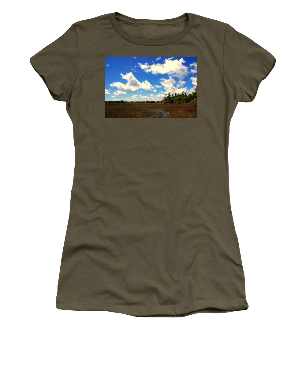 Spring Women's T-Shirt featuring the photograph Spring Clouds Over The Marsh by Susanne Van Hulst