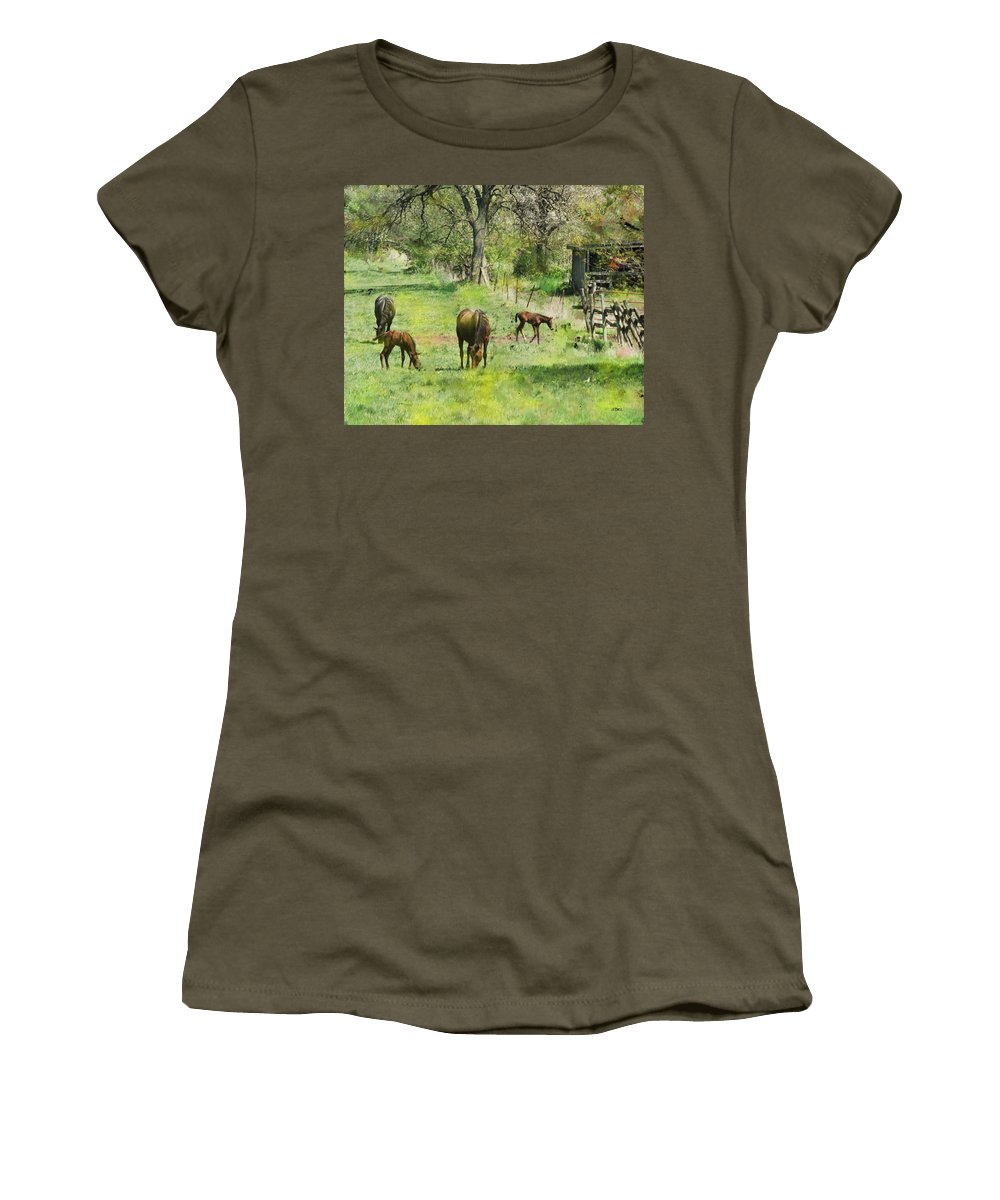 Spring Colts Women's T-Shirt (Athletic Fit) featuring the digital art Spring Colts by John Beck