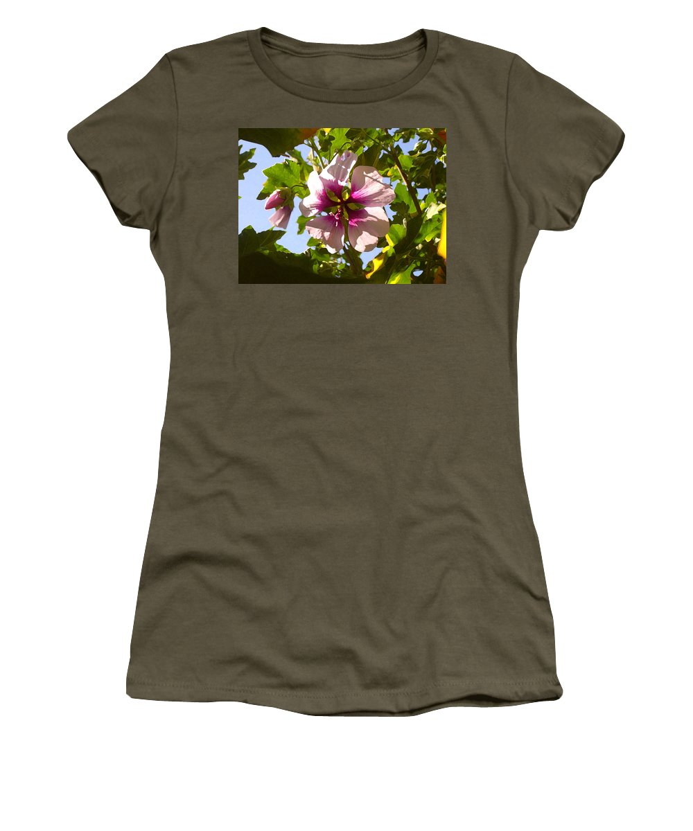 Flower Women's T-Shirt (Athletic Fit) featuring the painting Spring Flower Peeking Out by Amy Vangsgard